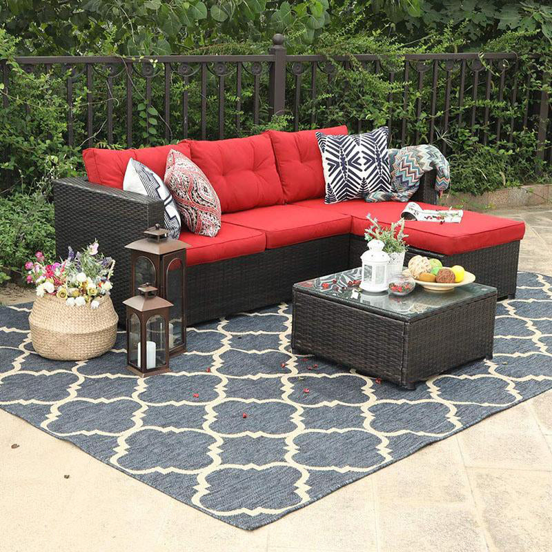 Phi Villa 3-Piece Rattan Outdoor Sectional Sofa