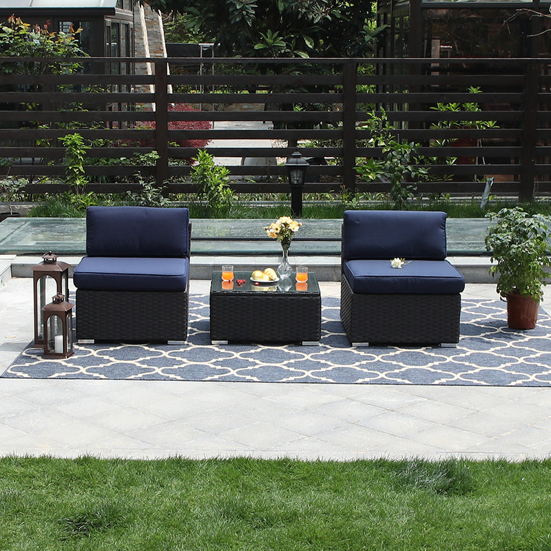 PHI VILLA Blue Rattan Patio Sectional Sofa