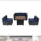 "PHI VILLA Gas Fire Pit Wood-look Table 34"" 50,000BTU & Rattan Wicker Sectional Sofa 5-Piece Set"