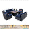 "PHI VILLA  Gas Fire Pit Wood-look Table 34"" 50,000BTU & Rattan Wicker Sectional Sofa 9-Piece Set"