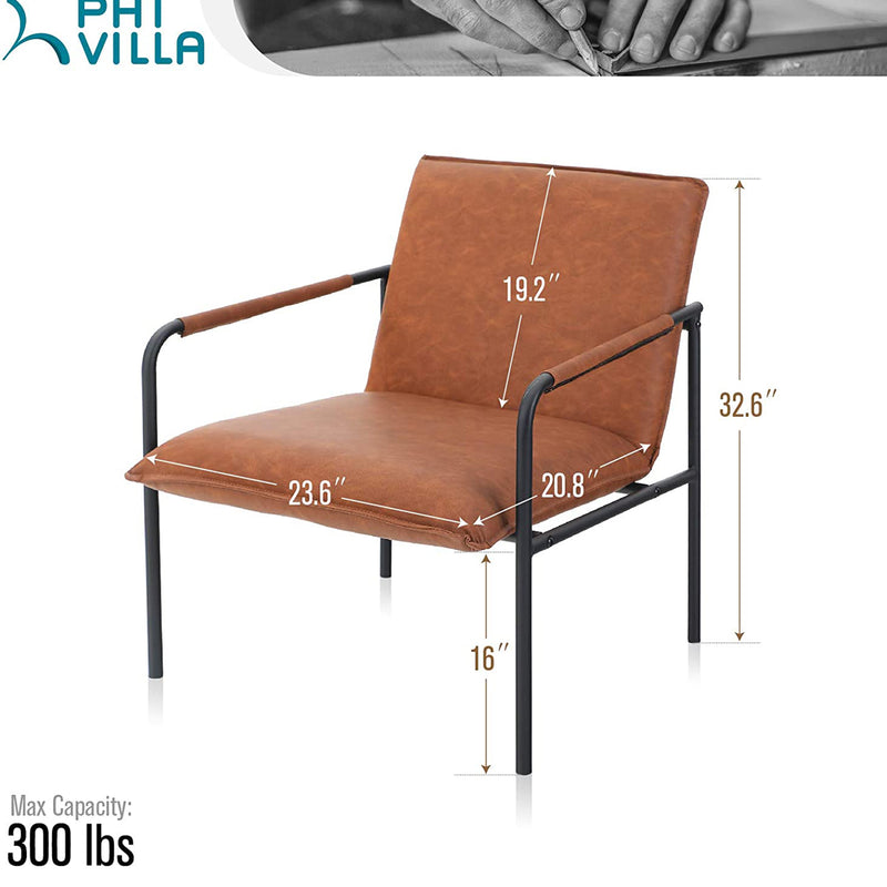 PHI VILLA Middle Back Accent Living Room Lounge Sofa Chair with Metal Legs, Brown