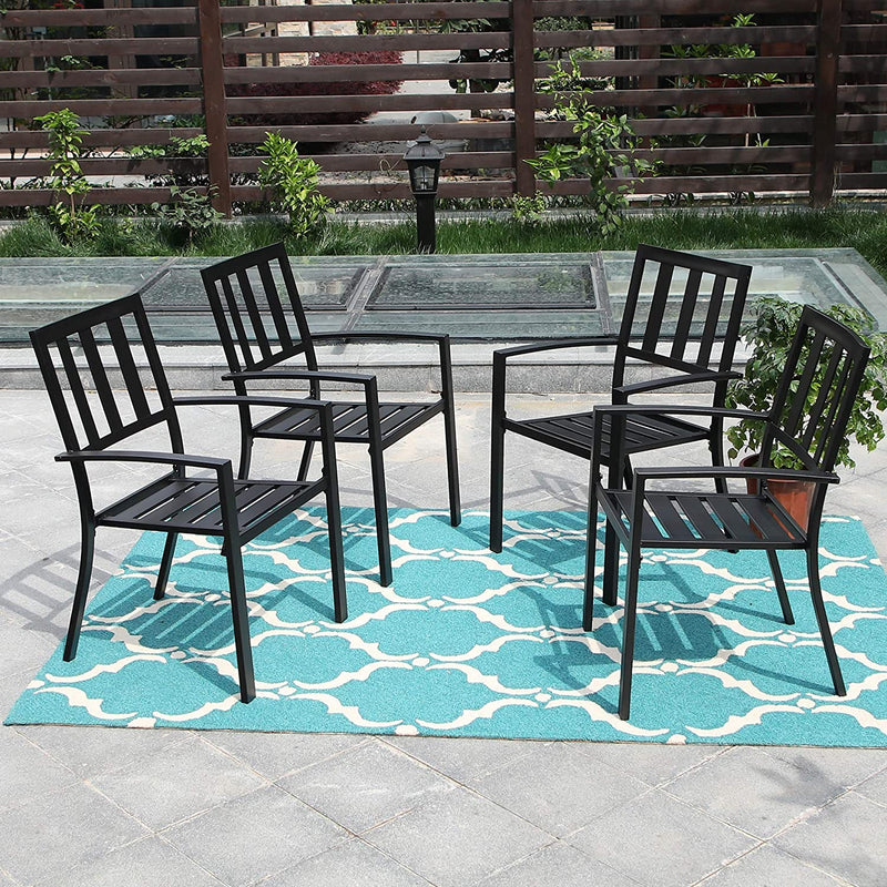 PHI VILLA Outdoor Patio Steel Frame Slat Seat Dining Arm Chairs Set of 4