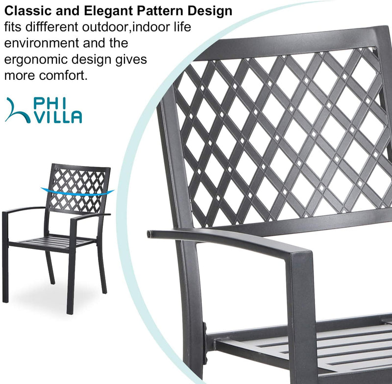 PHI Villa Metal Patio Outdoor Bistro Dining Chairs Set of 6 with Arms