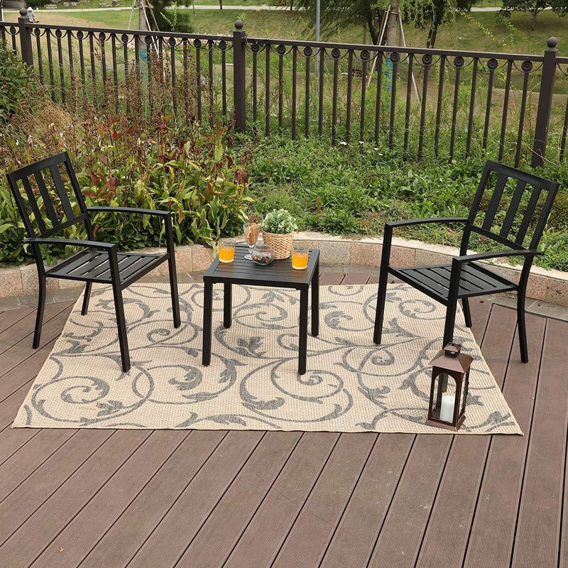 PHI VILLA Metal Patio Bistro Set 3 Piece Outdoor Table and Chairs Set