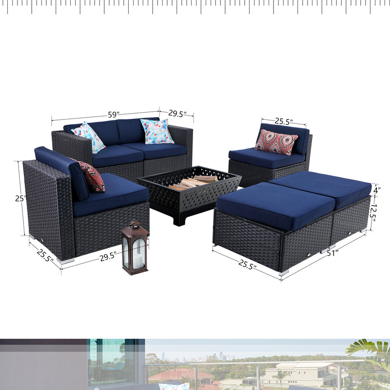 "PHI VILLA Fire Pit 34""×24"" & Rattan Wicker Sectional Sofa  7-Piece Set"