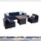 "PHI VILLA Gas Fire Pit  Wood-look Table  34"" 50,000BTU & Rattan Wicker Sectional Sofa 7-Piece Set"