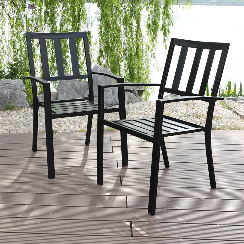 PHI VILLA Metal Patio Furniture Set - Table with Aluminum Table Top
