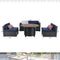 "PHI VILLA Gas Fire Pit Wood-look Round Table 40"" 50,000BTU & Rattan Wicker Sectional Sofa 5-Piece"