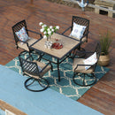 PHI VILLA 5 Piece Metal Outdoor Dining Set with Wood-Like Dining Table