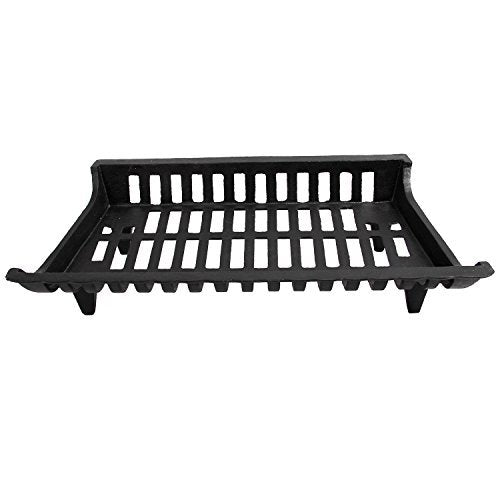 PHI VILLA 27 Inch Cast Iron Fireplace Grate with Legs, Black