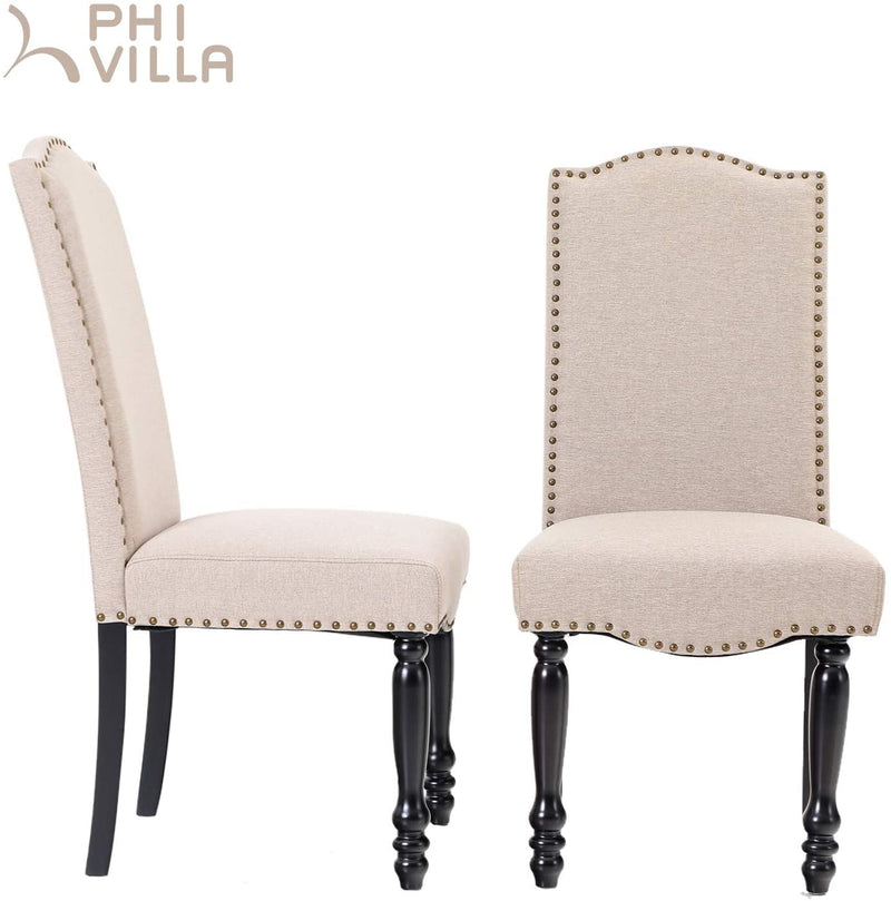 PHI VILLA Parson Urban Style Textile Accent Living Room Dining Chairs with Wood Legs, Set of 2