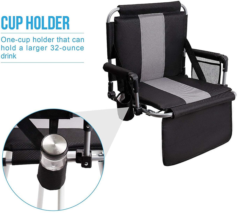 Alpha Camp Folding Stadium Seat Chair for Bleachers with Back & Arm Rest
