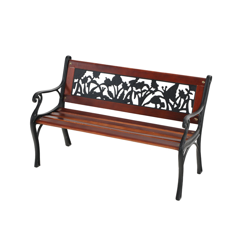 "PHI VILLA 33"" Outdoor Kids Sized Garden Metal Bench with Wood Seating"