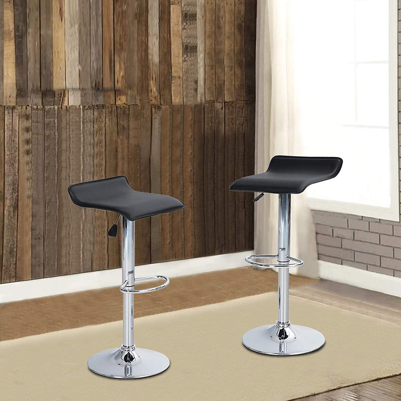 PHI VILLA Square PU Leather Counter Height Swivel Kitchen Bar Stools with Footrest, Set of 2
