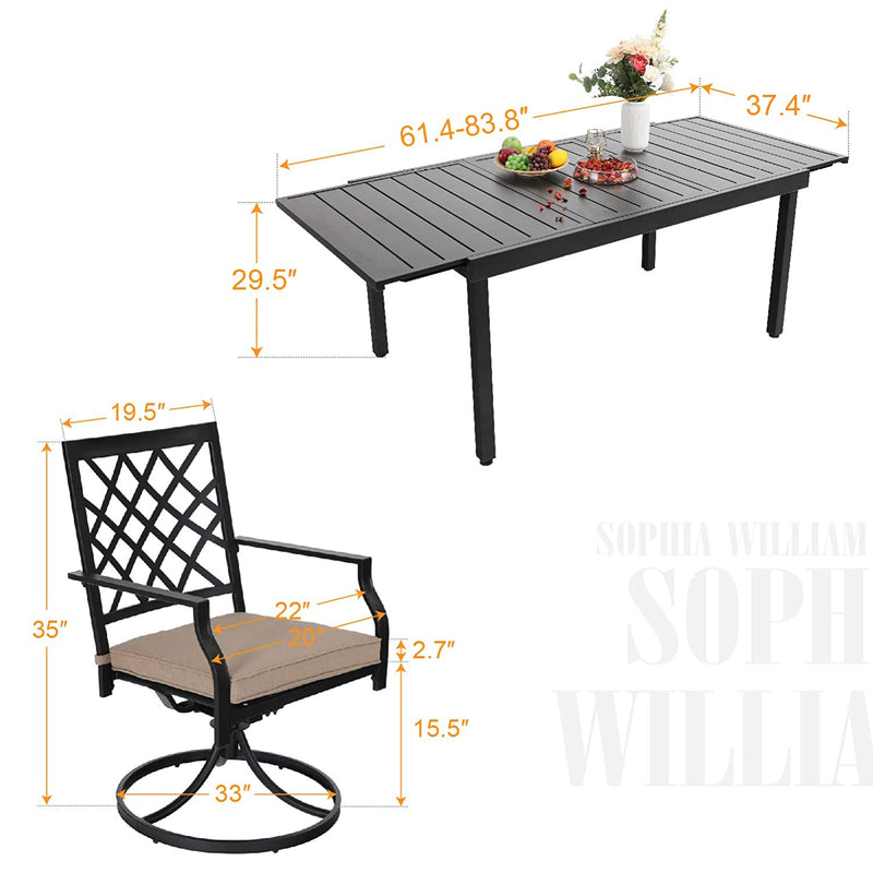 PHI VILLA Metal Outdoor Patio Dining Sets - Adjustable Patio Table and Cushioned Swivel Chairs