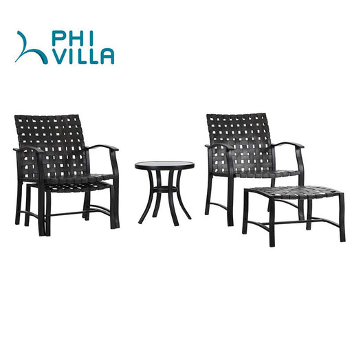 PHI VILLA 5-Piece Patio Strap Conversation Set