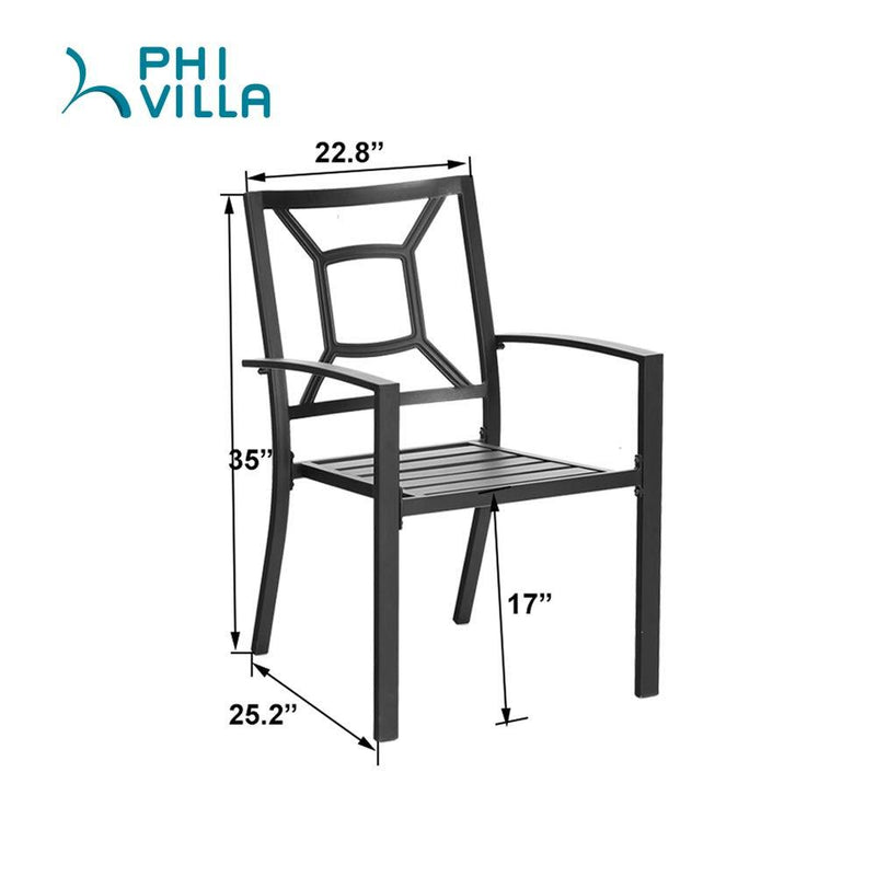 PHIVILLA Rectangle Patio Table and 6 Stackable Chairs 7-Piece Metal Outdoor Patio Dining Sets