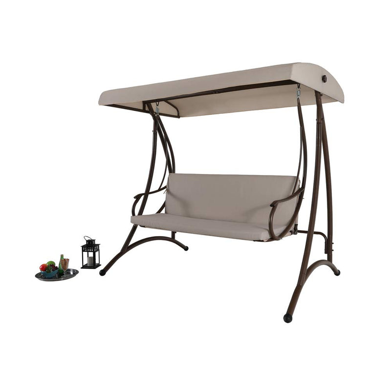 MFSTUDIO 750lbs Outdoor Patio Porch Steel Frame 3 Person Swing Chair