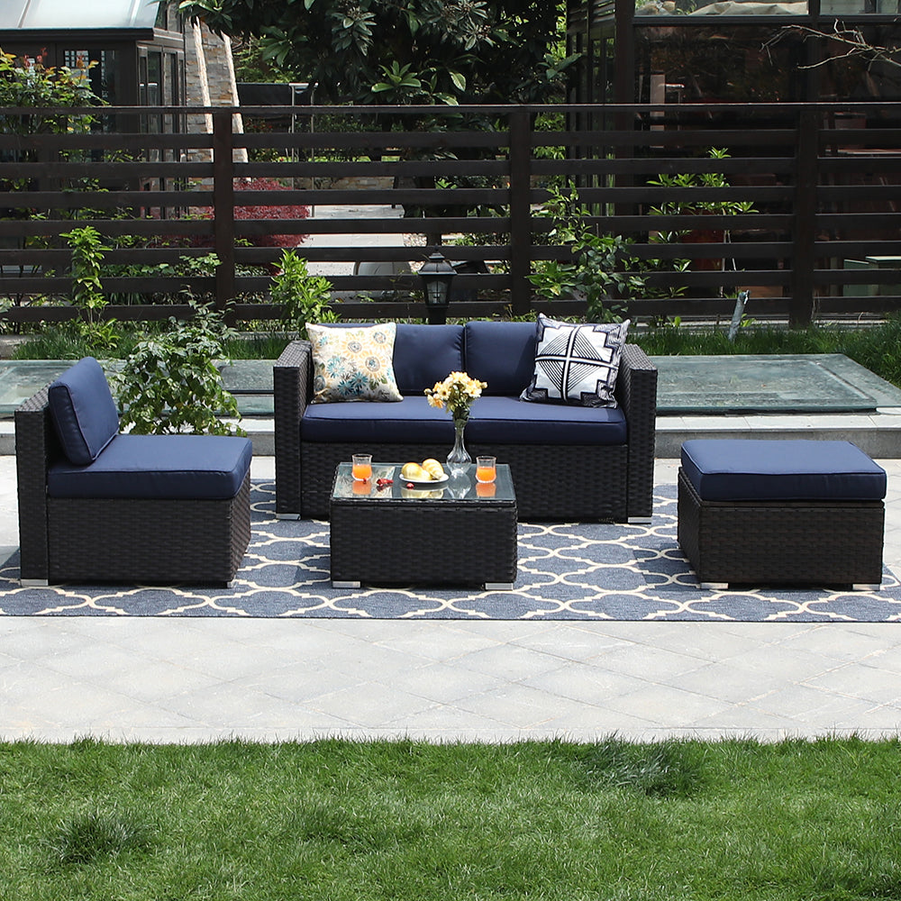 Phi Villa Rattan Outdoor Sectional Sofa Blue