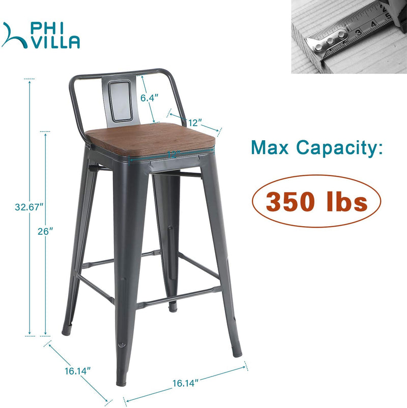 PHI VILLA Stackable Counter Height Metal Bar Stools with Wooden Seat, Set of 4