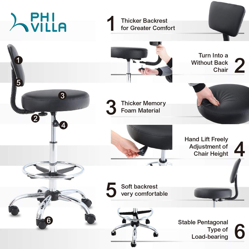 PHI VILLA Adjustable PU Leather Swivel Office Chair with Detachable Backrest