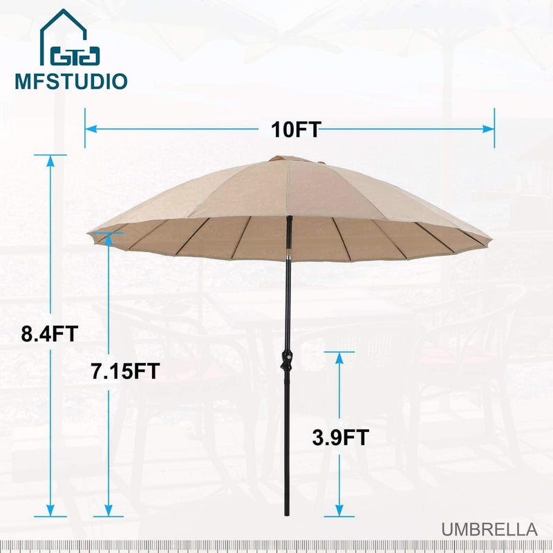 MFSTUDIO 10ft 16 Fiberglass Ribs Patio Umbrella with Push Button Tilt & Crank