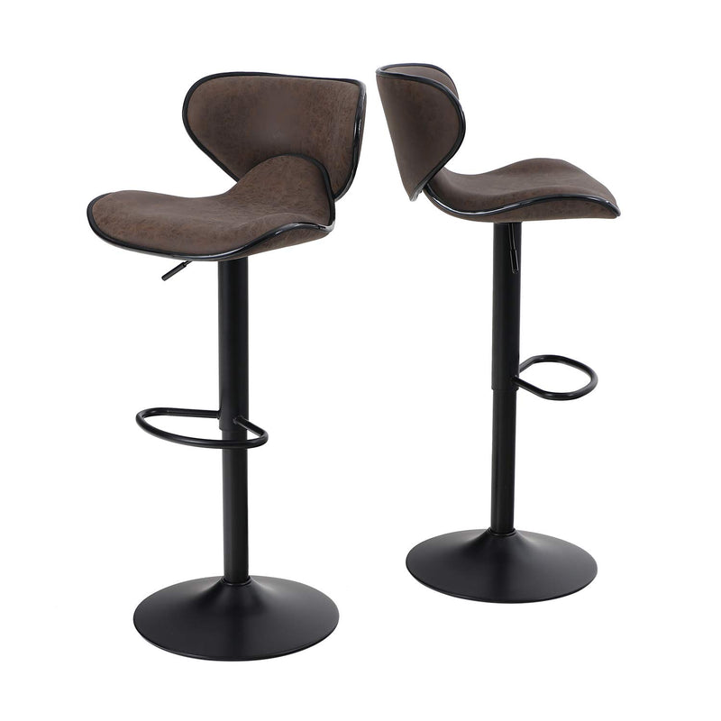ALPHA HOME Modern Square Bar Stools Counter Height Adjustable Bar Chair 360 Degree Swivel Seat, Set of 2-350 lbs Capacity ,Brown