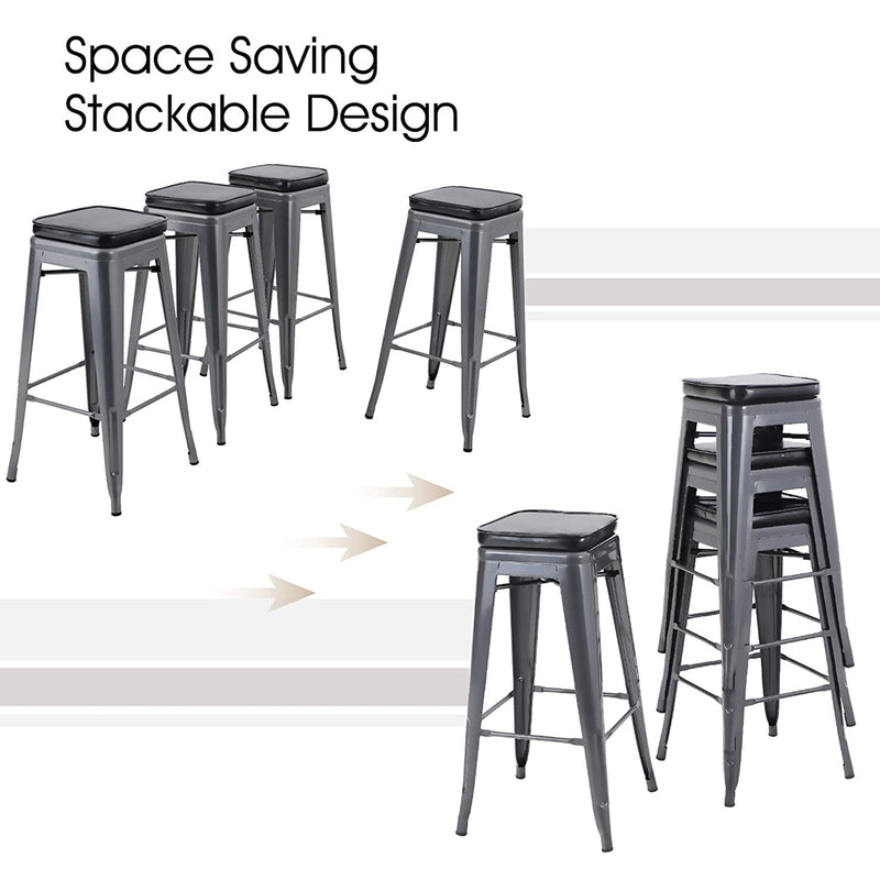 PHI VILLA Metal Counter Height Backless Dining Bar Stools with Removable Cushion, Set of 4
