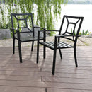 PHI VILLA Metal Patio Dining Chairs Set of 4 Pack with Armrest for Kitchen,Backyard,Balcony