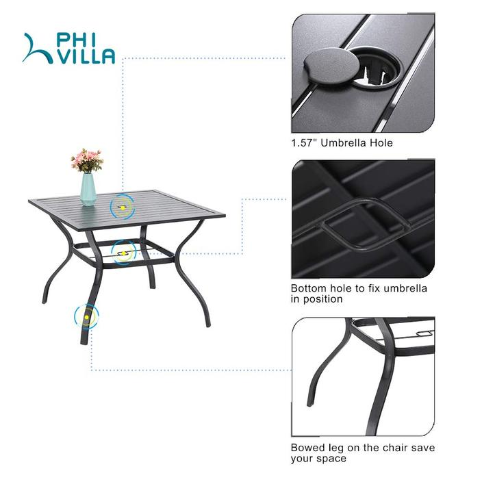 PHI VILLA 4 Cushioned Swivel Chairs and Larger Square Table 5-Piece Metal Outdoor Indoor Dining Set