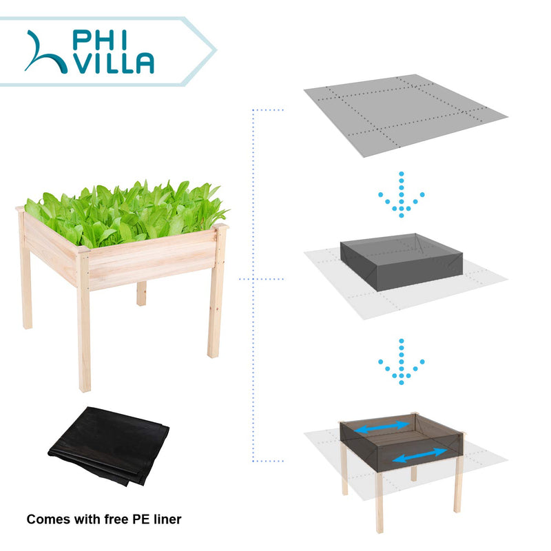 PHI VILLA Raised Garden Bed Elevated Planter Box