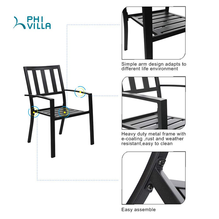 PHI VILLA 5 Piece Metal Outdoor Indoor Dining Chairs and Larger Square Table Set