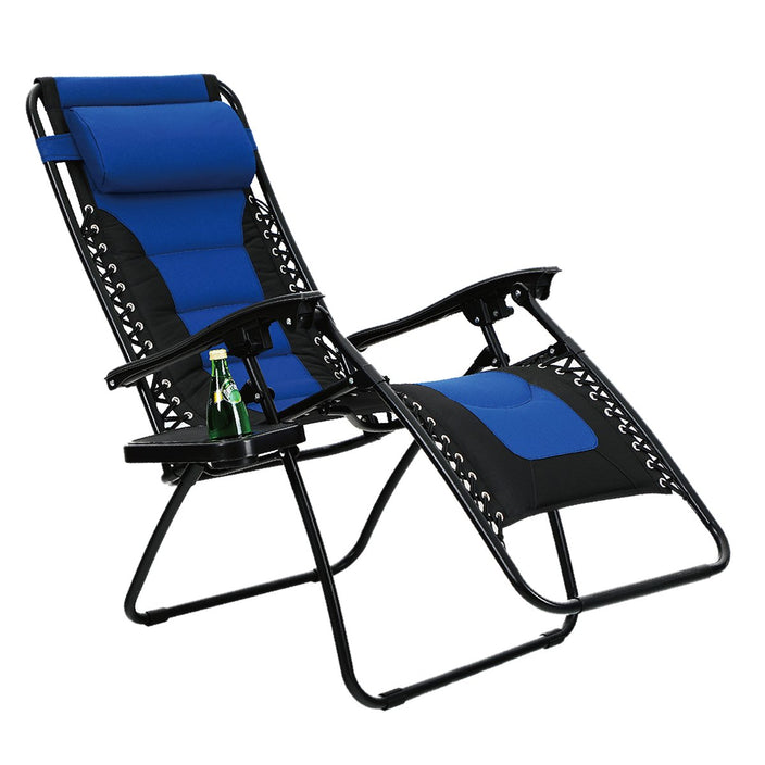 Alphamarts coupon: PHI VILLA Padded Zero Gravity Lounge Chair with Cup Holder Patio Foldable Adjustable Reclining - Blue