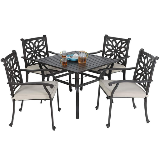 "MF STUDIO 5 Piece Cast Aluminum Dining Set - 37"" Metal Dining Table and Four Cast Aluminum Extra Wide Chairs, Color Brown"