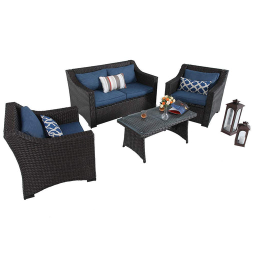 PHI VILLA 4-Piece Wicker Outdoor Sectional Sofa Set