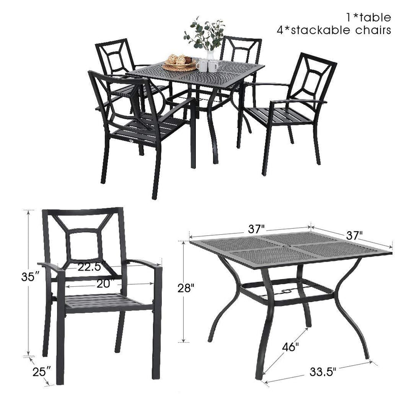 PHI VILLA 5 Piece Metal Steel Outdoor Patio Dining Set - 1 Mesh Metal Table and 4 Chairs