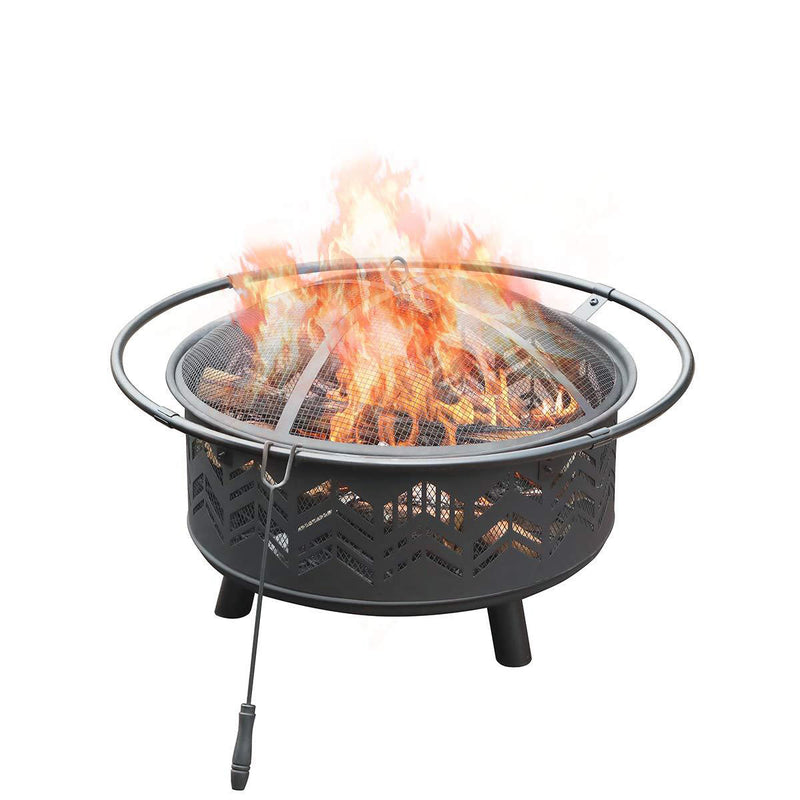 "PHI VILLA 29"" Fire Pit Large Steel Patio Fireplace Cutouts Pattern, Poker & Spark Screen Included"