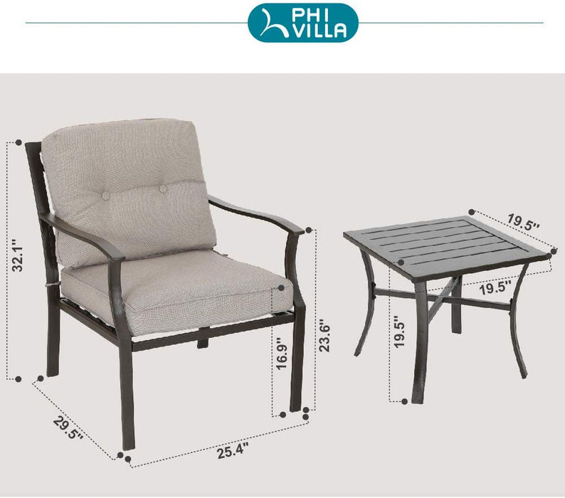 PHI VILLA Patio Cushioned Outdoor Conversation Sofa Set