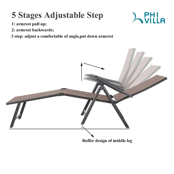 PHI VILLA 5 Stages Adjustable Patio Folding Metal Lounge Chair