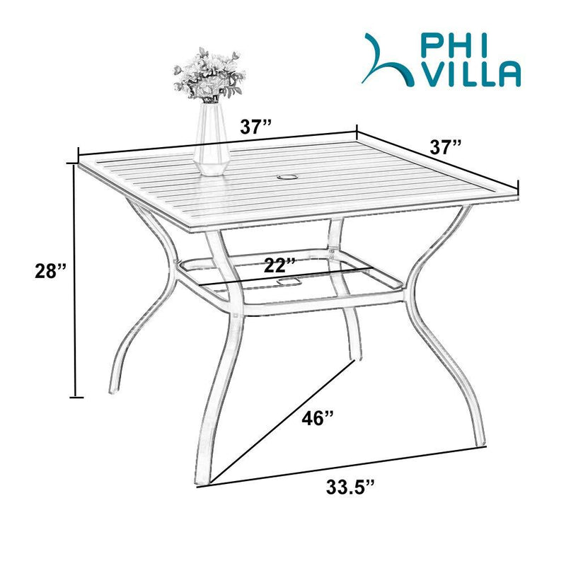 PHI VILLA 5-Piece Rattan Dining Chairs & Steel Square Table Patio Dining Set
