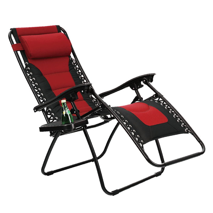 Alphamarts coupon: PHI VILLA Padded Zero Gravity Lounge Chair with Cup Holder Patio Foldable Adjustable Reclining - Red