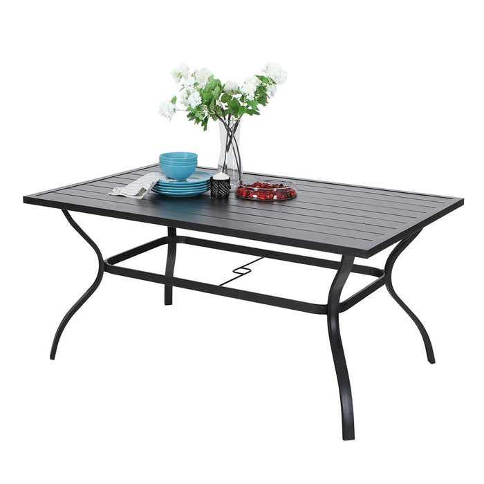 Phi Villa Outdoor Metal Dining Table Garden 6 Person Umbrella Table for Lawn Patio Pool Sturdy Steel Frame Weather-Resistant