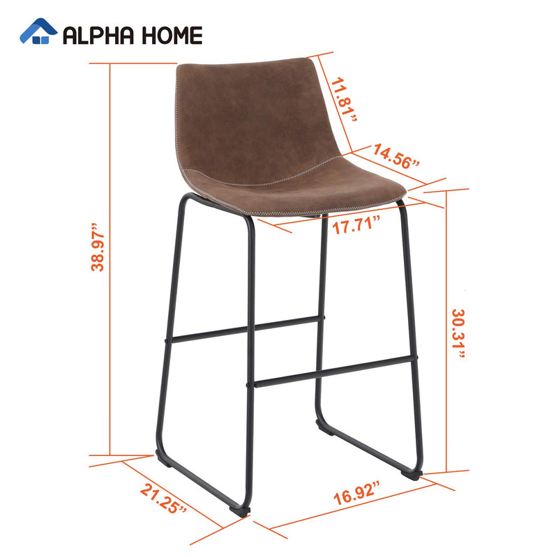 ALPHA HOME Vintage Leathaire Counter Height Bar Stools, 30""