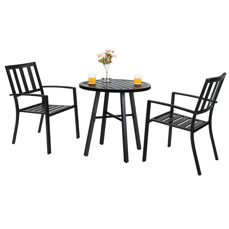 PHI VILLA Outdoor 3 Piece Metal Bistro Set, Dining Set with 2 x Chair and 1 x Table