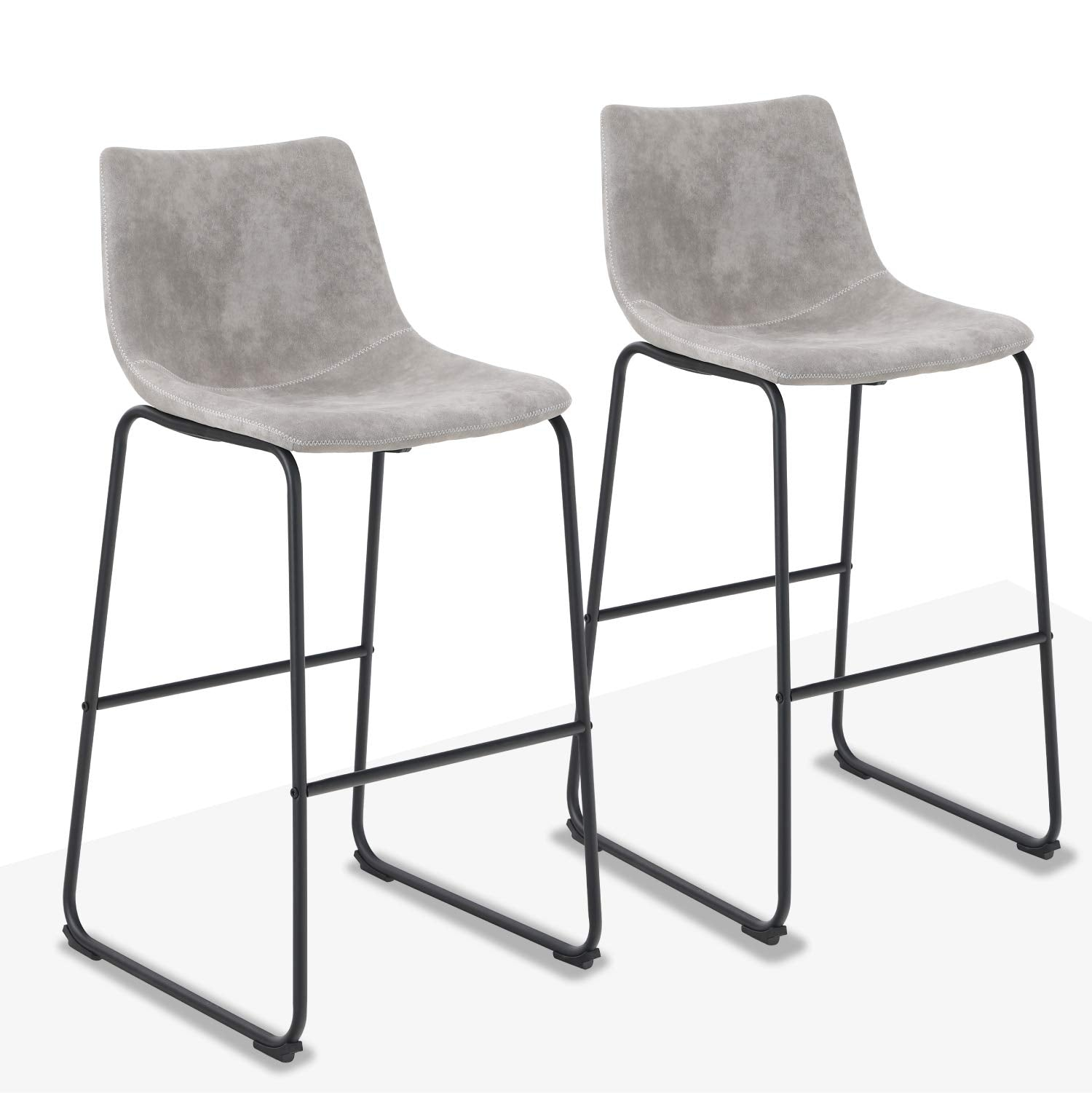 """Alphamarts coupon: ALPHA HOME Vintage Leathaire Counter Height Bar Stools, 30"""" Grey"""