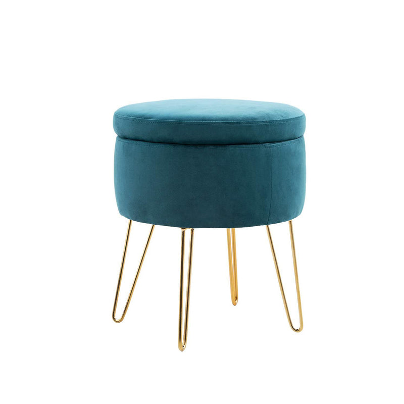 PHI VILLA Modern Round Storage Ottoman with Metal / Wood Legs