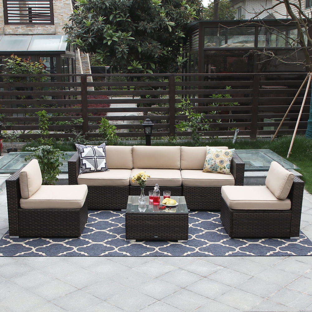 Phi Villa Wicker Outdoor Sectional Sofa Beige