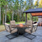 "PHI VILLA Gas Fire Pit  Wood-look Table 34"" 50,000 BTU & 4 C-spring Cushioned Chairs 5-Piece  Patio Dining Set"
