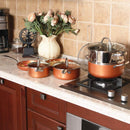Kitchen Academy Red Copper Hammered Induction Cookware Set Nonstick