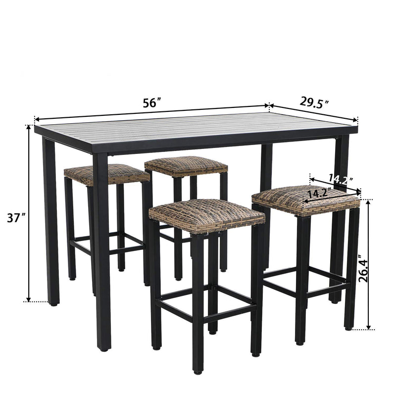 Phi Villa 5 Piece Bar Height Dining Set